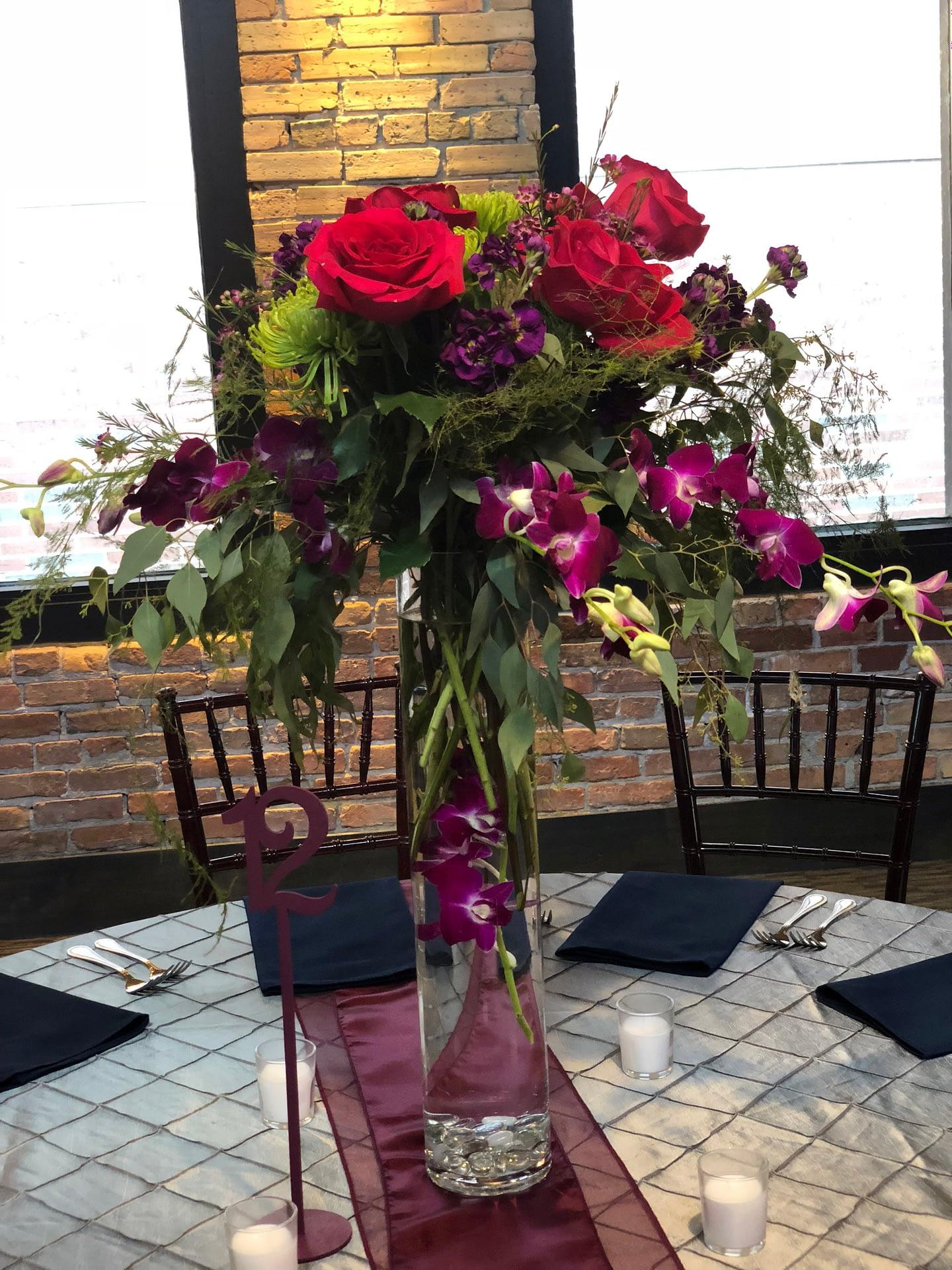 minneapolis event center reception tall floral centerpiece