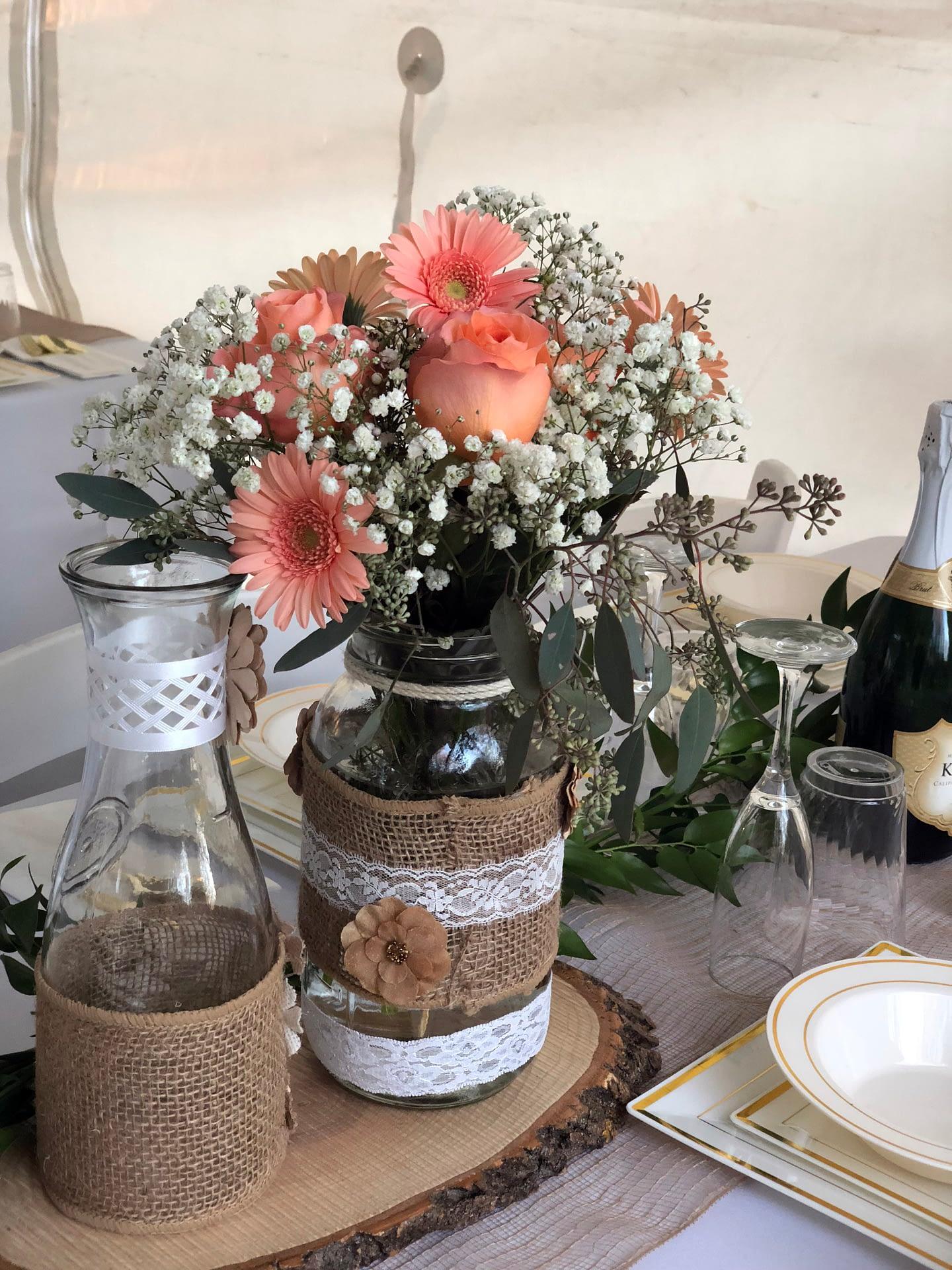 maple grove private home wedding reception centerpieces flowers mason jars