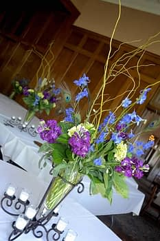 minneapolis wedding flowers centerpiece purple blue