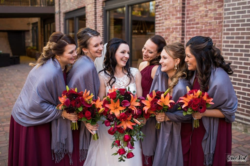 minneapolis event center autumn wedding bridesmaids bouquets inspiration