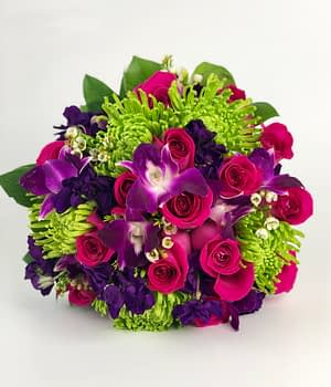 bright bouquet-pink roses-orchids-mums-stock