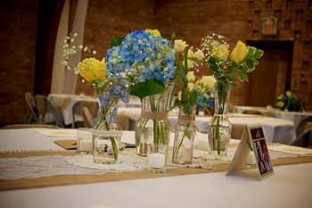 minneapolis wedding flowers centerpiece blue yellow palette