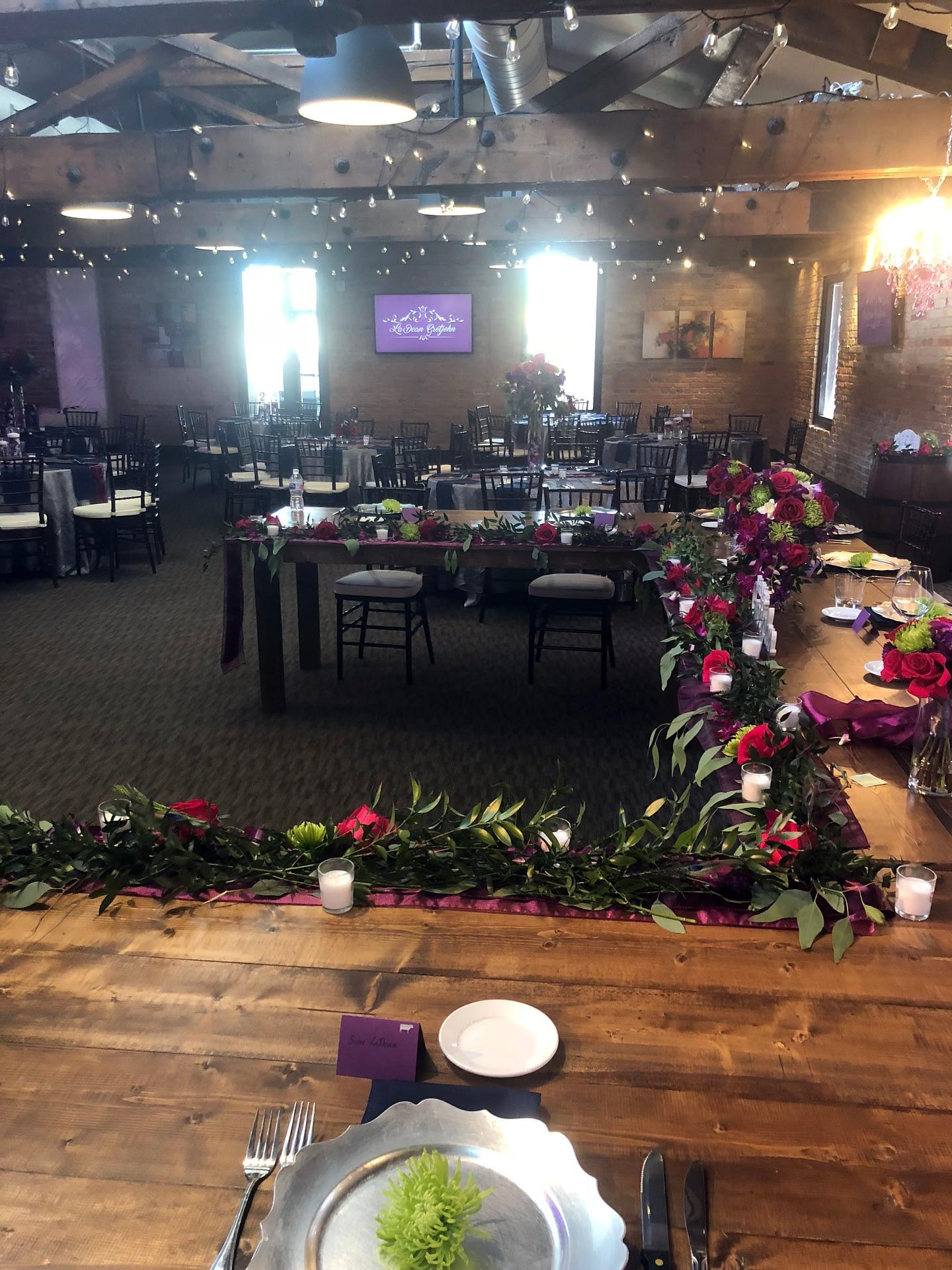minneapolis event center reception decoration greenery flowers warm