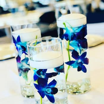 wedding centerpiece florist minnesota blue orchid