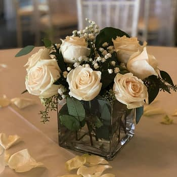 wedding centerpiece minnesota roses water