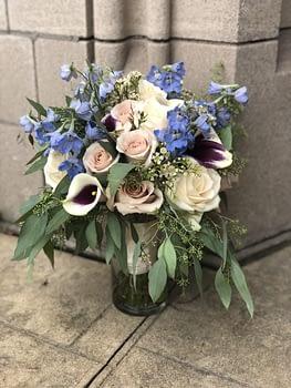 Saint Paul College Club bridal bouquet davidson hotel calla lilies roses delphinium