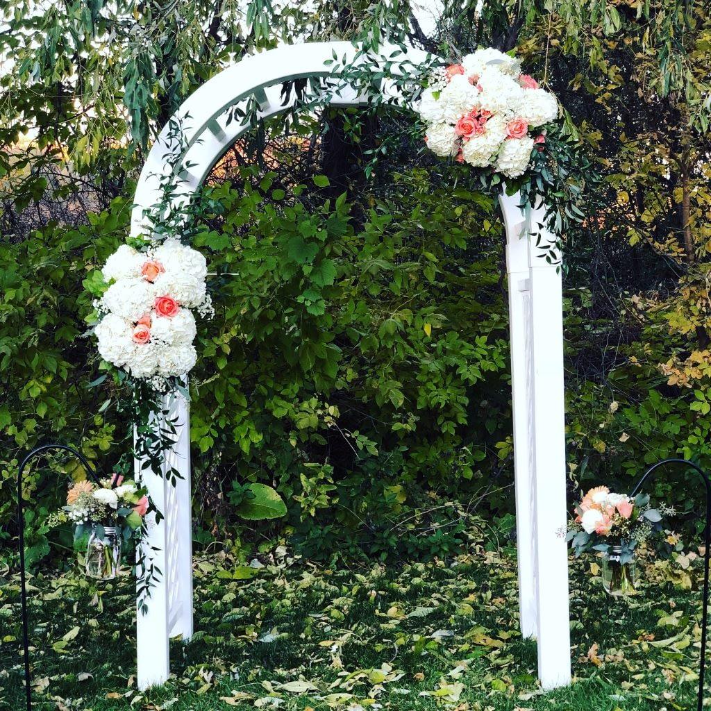 maple grove private home wedding ceremony arch