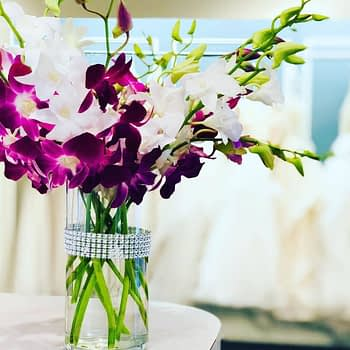 wedding centerpiece minnesota purple orchid 1