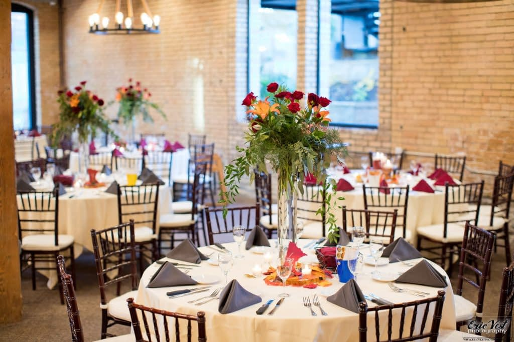 minneapolis event center autumn wedding statement centerpieces